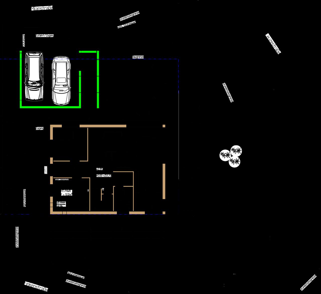 Das Grundstück mit Baufenster