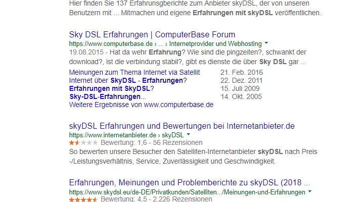 Erfahrungen mit skyDSL